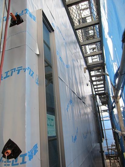 志水木材の新築(建替え)工事現場 外壁工程