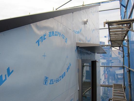 志水木材の新築(建替え)工事現場 外壁工程2