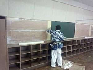 上大久保中学校での改修工事1