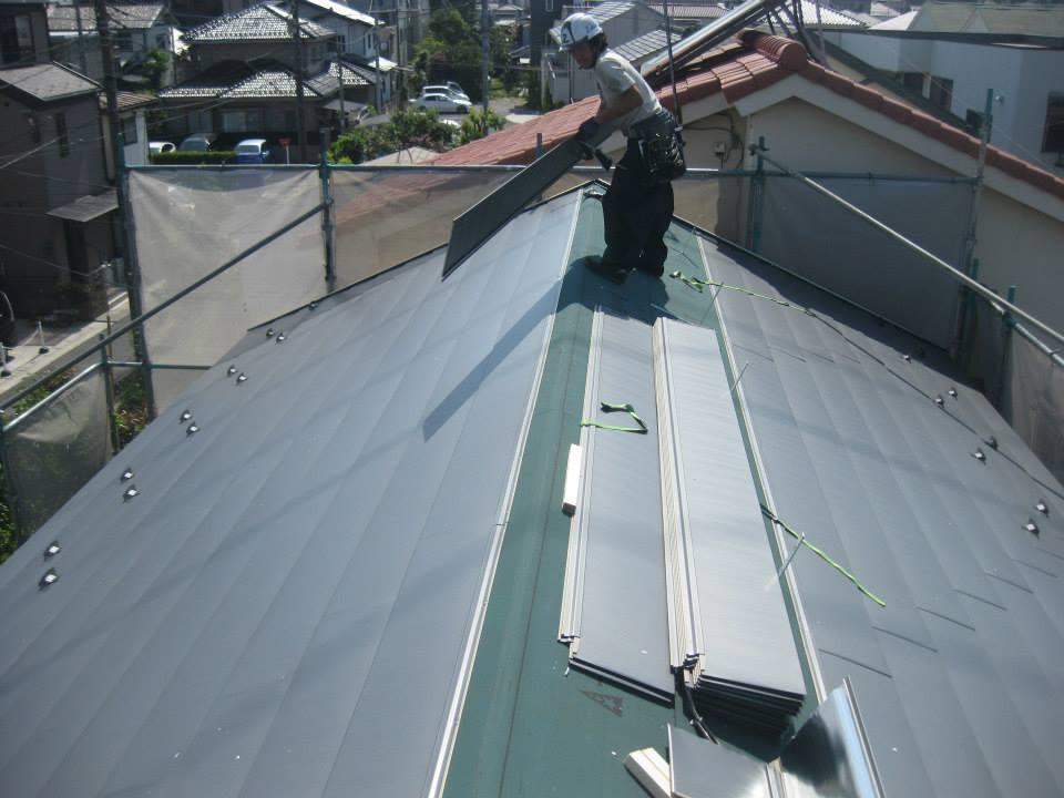 耐震工事例「屋根の入れ替え作業」